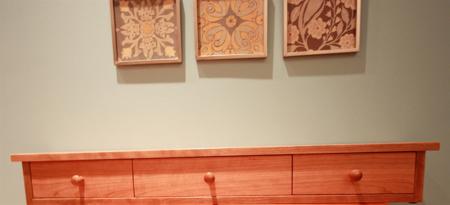 Picture of Custom Solid Cherry  Shelf w/ three darwers