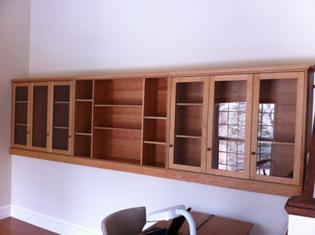 Picture of  Custom Solid Cherry Cabinets with Glass Doors