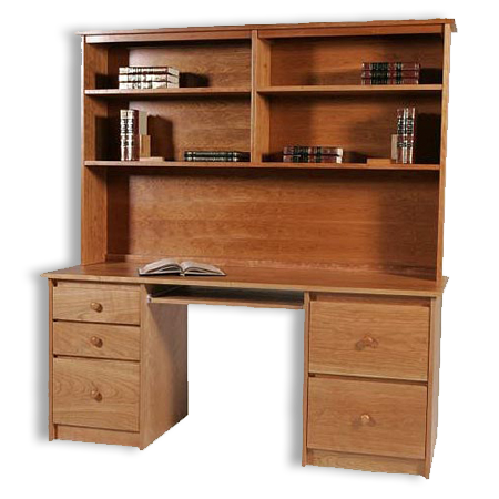 Picture of Shaker Double Pedestal Desk & Hutch