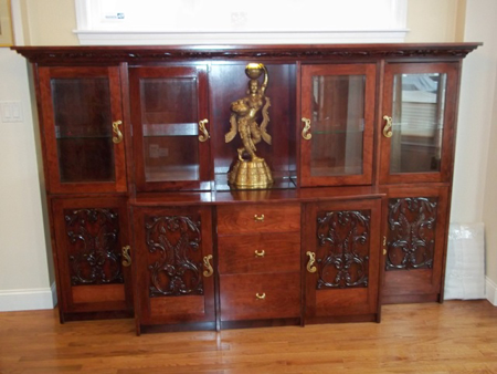 Picture of  Custom Solid Cherry Cabinet with Glass Doors and Carvings