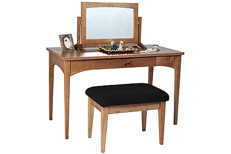 Picture of Solid cherry Vanity table and  optional  swivel mirror