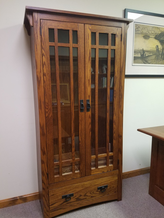 Picture of Mission Bookcase with drawer and wood framed glass doors with mullions