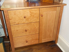 Picture of Shaker  with post small Cherry Credenza w/3 Drawer, 1 Flat paneled Door, Hutch optional