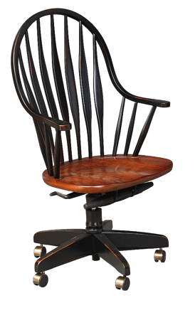Picture of Continuous Arm Desk Chair with flat lumber back spindles