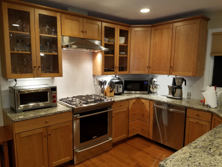 Picture of Custom Kitchen Cabinets with top Glass doors Full corner drawers