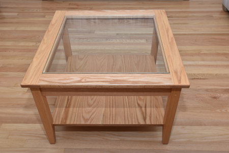 """Picture of Shaker Corner Table with Glass top and Bottom shelf  30"""" W x 30"""" D x 21"""" H"""