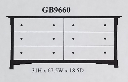Picture of GB9660 Six Drawer Dresser
